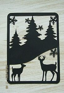 New : 5 x Forest Scene Silhouette Card Fronts : Black