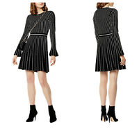 New KAREN MILLEN Black & Ivory KC040 BNWT £150 Pin-stripe Knit Dress UK Size 10