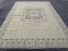 Old Hand Made French Design Wool Beige Gold Large Original Aubusson 322X238cm
