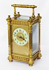 ANTIQUE FRENCH GILT BRASS CARRIAGE CLOCK FILIGREE FRIEZES, COLUMNS, CHAPTER DIAL