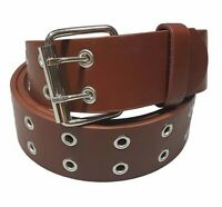 Men's Women's Leather Two Rows Silver Grommet Double Holes Brown Belt All Sizes