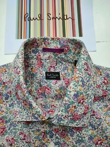 PAUL SMITH FLORAL SHIRT - Size M / 15 inch Collar - CLASSY - Double Cuffs