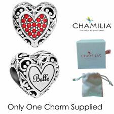 Genuine Chamilia Silver Disney Beauty & Beast Belles Heart Charm Bracelet Bead