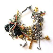 J-270315 New Saint Laurent Silver & Gold Charm Bracelet Jewelry