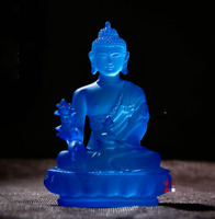 12CM Tibet Tibetan Buddhism Resin Lotus Shakyamuni Menla Medicine Buddha Statue