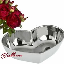 HEART SHAPED DISPLAY DISH silver tone ceramic ornamental bowl home decor gift