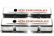 SBC Chrome Steel Tall Valve Covers w/ Orange Chevrolet Logo 58-86 283-400 Chevy