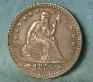 1853 Seated Liberty Silver Quarter Needle Sharp High Grade United States Coin