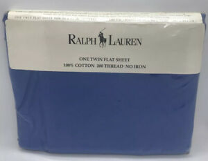 Ralph Lauren One Twin Flat Sheet 200 Thread Classic Mystic Blue Bed Sheet Luxury