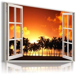 """3D SUNSET Window View Canvas Wall Art Picture Large SIZE 30X20"""" W330"""