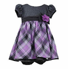 BONNIE JEAN BABY® 24M Purple & Black Sparkly Plaid Holiday Dress NWT $60