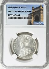 India 1918-(B) Rupee NGC Brilliant Uncirculated Silver Coin