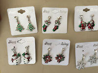 Christmas Dangle Earrings, Tree, Snowman, Snowflake, Santa, Stocking