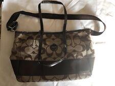 COACH Signature Handbag BAG DIAPER BAGS BROWN & TAN MULTI FUNCTION LEATHER TRIM
