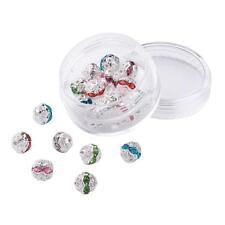 20 abalorios metálicos perlas bricolaje metal plateado con pedrería beads 8 mm (2214)