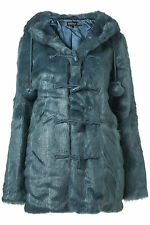 New TOPSHOP faux fur pom pom duffle coat UK 6 in Kingfisher