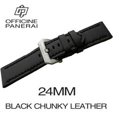• 24mm Black Chunky Leather Bracelet / Strap With Buckle For Officine Panerai •