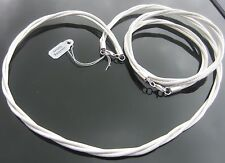 Genuine White Leather 2mm Cord Bracelet Necklace SET 925 Silver Ends and Clasp