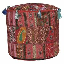 Pouf Cover Handmade Patchwork New Indian Cotton Vintage Ottoman Round Foot Stool