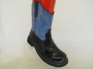 Roper Brand Black Blue Faux Leather Cowboy Western Boots Womens Size 8.5