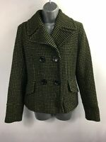 WOMENS J.TAYLOR BLACK GREEN PATTERNED DOUBLE BREASTED SMART SHORT PEA COAT UK 12