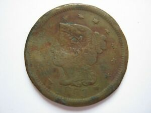 United States 1853 copper Cent Poor punch/crimps att piercing