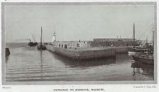Macduff Harbour entrance, Banffshire, Scotland 1923 antique print in mount