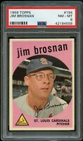 1959 Topps BB Card #194 Jim Brosnan St. Louis Cardinals PSA NM-MT 8 !!