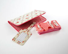 FLORAL DESIGNED MATCHING PASSPORT HOLDER, TRAVEL STRAP & LUGGAGE TAG SET- NEW