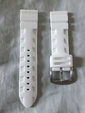 NEW 24mm WHITE HEAVY ITALIAN RUBBER DIVER WATCH BAND,STRAP ARROW DOWN SOLID BCKL