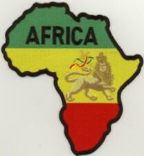 """Large Rasta Africa Map / Lion Embroidered Patch 6.5""""x6"""""""