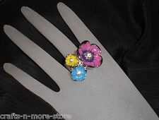 Purple/Blue/Yellow Flowers Silver Pewter Rhinestone Stretch Ring