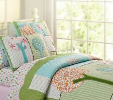 Pottery Barn Kids Brooke Woodland Owls full size fitted sheet 2 std pillow cases