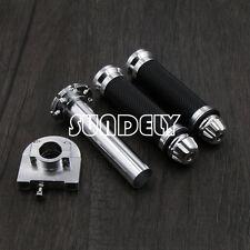 7/8'' 22mm Motorcycle Motorbike Handlebar Hand Grip & Throttle Twist Tube Silver