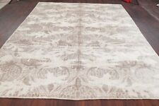 100% Silk Taupe 8x10 Art & Craft Floral Transitional Area Rug Soft Pile Carpet