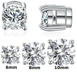 Magnet Clip On Stud Earrings 6mm / 8mm / 10mm Non Pierced Magnetic Crystal Studs