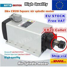 【UK】Square 3KW ER20 Air Cooled Spindle Motor Engraving Milling Grind CNC Router