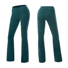 Foldover Yoga Pants Gym Fitness Sport Comfy Soft Slim Flare Leg Cotton Spandex