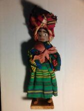 DOLL HAND MADE IN GUATEMALA CLOTH WOOD STAND VINTAGE FOLK ART 8 INCHES