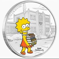 2019 Tuvalu THE SIMPSON'S - LISA Colorized 1oz .999 Proof Silver Coin Box & COA