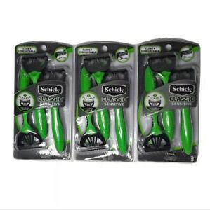 3 Pack Schick Classic Sensitive Men's Disposable Razors 3 Blades 3 Razors Each