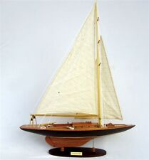 "Cotton Blossom Nature Finish 24"" Handmade Wooden Sailboat Model"