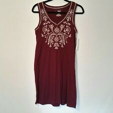 Sonoma Womens Small Sleeveless Dress Bathingsuit Coverup Burgandy Embroidered