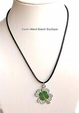 Silver Green Shamrock Necklace Irish Clover Celtic St. Patricks Day Plated USA