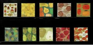 Japan 2020 Autumn Greetings 84Y Complete Used Set of 10  Sc# 4426 a-j