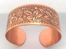 """NEW Solid Copper Daisy Design Ladies Adjustable 1"""" wide Cuff Bracelet  USA Made"""
