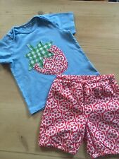 Mini Boden baby girls appliqué strawberry T-shirt and red bloomers 18-24 months