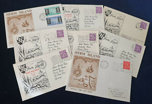 Channel Islands Guernsey HERM ISLAND Lot of 8 Covers 1959-1969 #4811