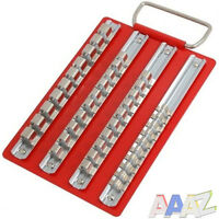 Metal Socket Tray with 1/4 3/8 & 1/2 Inch Clips Storage Rails Tool Box Roll Cab