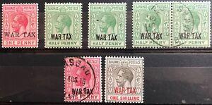 BAHAMAS 1917-19 WAR TAX OVERPRINTS SELECTION MM/FINE USED
